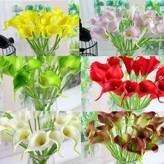 Sweet 10Pcs Artificial Latex Calla Lily Flower Bouquet Home Wedding Bridal Decor