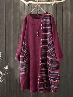 Striped Patchwork Button Corduroy Plus Size Vintage Dress with Pockets Vestidos Vintage, Plus Size Vintage Dresses, Vintage Outfits, Bohemian Print, Laos People, British Indian, Suits You, Corduroy, Clothes For Women
