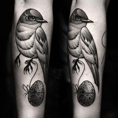 Black grey bird forearm tattoo by Kamil Czapiga