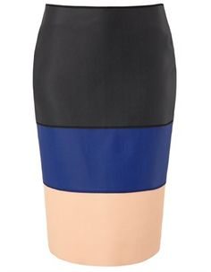 Multi Faux Leather Pencil Skirt