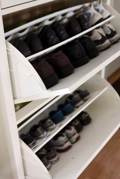 THe best idea for storing shoes and keeping them out of sight MUDROOM