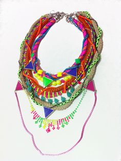 Super duper chunky piece neon necklace statement