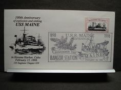 "USS MAINE ACR-1 Naval Cover 1998 ""REMEMBER the MAINE"" Cachet SPANISH-AMERICAN"