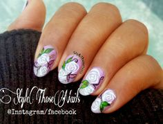 Style Those Nails: Welcome Spring Early !! Free hand Roses Nail Art