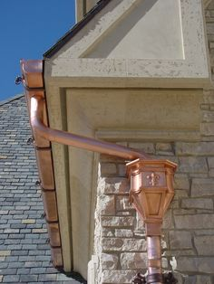 """King's Gate"" conductor head, hand crafted from 24 oz copper Lead Roof, Floor Screen, Copper Gutters, Drain Pipes, Screened In Porch, Secret Places, Conductors, Curb Appeal, Cottage"