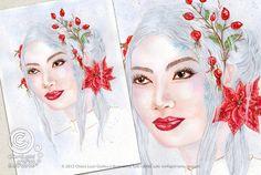 Mesi Illustrati: Dicembre #visodidonna #ritratto #illustrazione #bellezza #fiori #frutti #foglie #mesidellanno