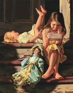 'The Love Letter' by Bob Byerley      ...reading the older sister's love letter...    FP?