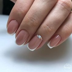 Nail art Christmas - the festive spirit on the nails. Over 70 creative ideas and tutorials - My Nails White Tip Nails, Pink Nails, My Nails, Short French Nails, French Tip Nails, French Tips, Nail French, French Nail Designs, Nail Art Designs