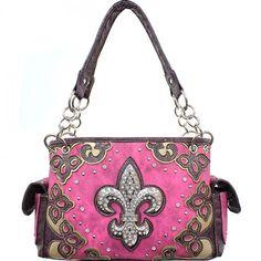 Concealed Carry Handbag Rhinestone Fleur De Lis – Handbag Addict.com