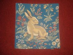 "BEAUTIFUL FRENCH COUNTRY FLORAL RABBIT TAPESTRY PILLOW/CUSHION COVER 14"" X 14"""
