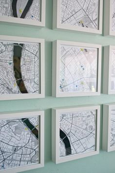 Here's a cool twist to wall map decor. Instead of one large map hanging on the wall, divide it into 9 x sections, frame each section individually and hang them together for an awesome gallery wall! Inexpensive Home Decor, Cute Home Decor, Cheap Home Decor, Map Projects, Crafty Projects, Instalation Art, Framed Maps, Do It Yourself Home, Home Wall Art