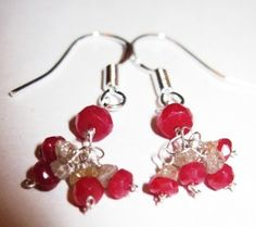 Genuine Diamond and Ruby  Earring clusters by Created2Inspire, $120.00