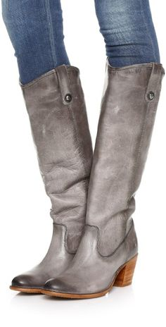 Frye Jackie Button Boots | Grey Leather Cowboy style Boot