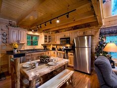 Easy Contemporary Home Decor Ideas Log Home Kitchens, Log Cabin Homes, Log Cabins, Barn Homes, Contemporary Home Decor, Easy Home Decor, Kitchen Design, Design Bathroom, Bathroom Interior