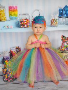 Elegant Rainbow Toddler Tutu Gown by PoshNPrettyPrincess on Etsy, $38.00