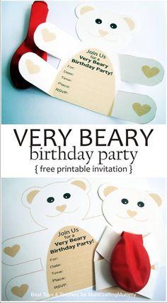 Crafty Kids at Home: Free Printable Teddy Bear Birthday Party Invitation