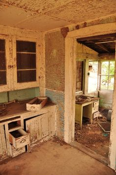 Deserted Old Farm House Kitchen & Back Porch. This is beautiful.  I would love to bring this back to life.