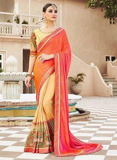 Especial Cream and Pink Designer Saree