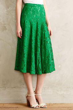 Grass-Lace Midi Skirt
