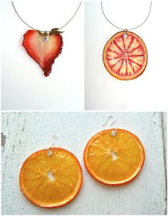 Real Fruit Jewelry: I am forever wondering what to do with those last few strawberries in the fridge. No more, though.