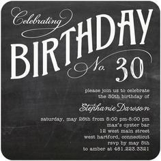 Adult Birthday Party Invitations Charming Chalk