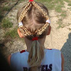Diamonds are a girls best friend! Great softball hairdo!