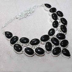Statement Silver and Black onyx Necklace $22.00