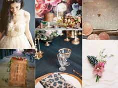 Eclectic midnight blue and copper #wedding inspiration board