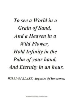 a summary of auguries of innocence a poem by william blake Read poems by this poet william blake was born in london on november 28, 1757, to james, a hosier, and catherine blake two of his six siblings died in infancy from early childhood, blake spoke of having visions—at four he saw god put his head to the window around age nine, while walking through the countryside, he saw a tree filled with angels.