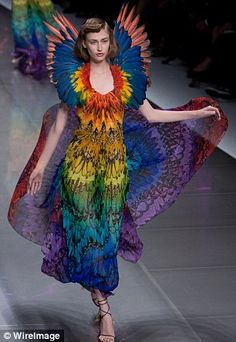 Pin for Later: The Alexander McQueen: Savage Beauty Exhibit Finally Heads to London Spring 2008 Uk Fashion, Fashion Beauty, Fashion Design, Paris Fashion, Michel Fugain, Bird Wings Costume, Alexander Mcqueen Savage Beauty, London Spring, Costume Design