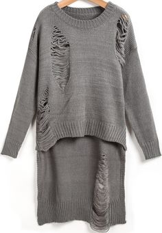 #SALE Grey Long Sleeve Hollow Dipped Hem Knit Sweater Shop the #SALE at #Sheinside