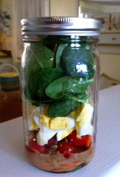 Salads in a jar! How did I just find out about this?!?! Thank you Kim Murray! Great for lunches and picnics!