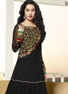 shraddha kapoor Traditional  Styles Long Black Designer Anarkali Suits buy best designer sarees collections,Best Deals On Womens Wear online store, Best Deals On Anarkali salwar Kameez, End of Season Sale on Designer Dress Matirials and Kurti #dress #salwarkameez #cotton #designer #readymad #fancydress #Anarkali #Paiala #Punjabi #Casual #Long #Cotton #long #saree #designer #printedsaree #casualwear #casualstyle #casualsaree #silksarees