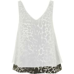 Leopard Print Overlay Sleeveless Top by Topshop Reclaim ($52) ❤ liked on Polyvore featuring tops, topshop, cream, white tank top, white singlet, chiffon tank top, layering tanks and sleeveless tank