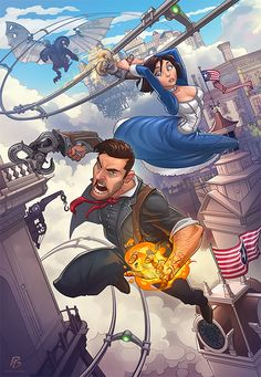 Bioshock Infinite Comic Illustration by Patrick Brown Bioshock Infinite, Bioshock Game, Bioshock Series, Bioshock Rapture, Patrick Brown, Game Character, Character Design, Comic Character, Character Inspiration
