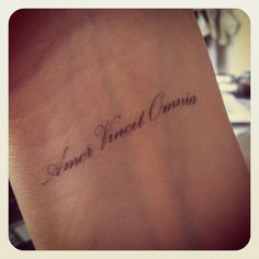 Amor Vincit Omnia (Love Conquers All- in Latin) Wrist Tattoo