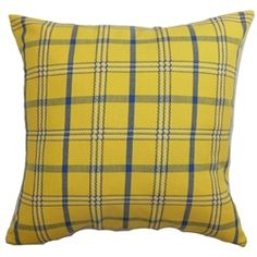 """This plaid throw pillow will surely add a funky vibe to your space. This decor pillow will instantly lighten up your room with its sunny colors. The vibrant colors of yellow, white and blue makes this a scene-stealing accent piece. This 18"""" pillow is suitable for many decor styles, including, modern and contemporary. The material used in crafting this square pillow is made from 100% soft cotton fabric. $55.00  #yellow #plaid #tosspillow"""