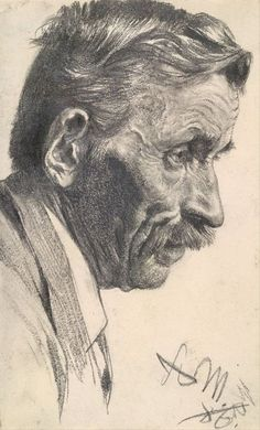 Adolph Menzel, A Man's Head, 1886 on ArtStack #adolph-menzel #art