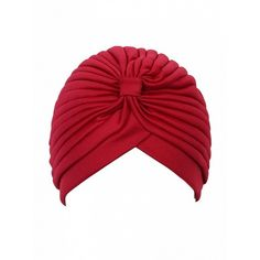 Choies Red Turban Hat (5.07 AUD) ❤ liked on Polyvore featuring accessories, hats, red, red hat, turban hat and red turbans