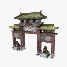asian gateway 3d model