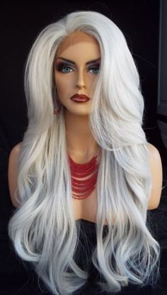 Lace Front Wigs New Fashion Women Long Silver White Wavy Heat Resistant Full Wig #New #FullWig