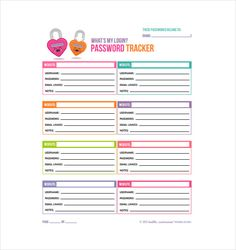 Free Password Log Printable Password Tracker Password Template