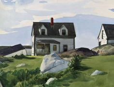 Edward Hopper - Houses of Squam Light, Gloucester (detail), 1923 American Realism, American Artists, Edward Hopper Paintings, Monet, Ashcan School, Robert Rauschenberg, American Houses, David Hockney, Dibujo
