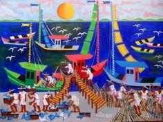 AECIO TEMA A CHEGADA DOS PESCADORES A VENDA COM AJUR SP (Painting),  50x70 cm por Arte Naif AJUR SP VENDEDOR E DIVULGADOR DA ARTE NAIF
