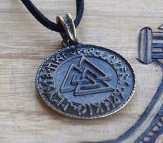 RUNIC VALKNUT Bronze Plated Double Faced Pendant Necklace on Black Cord for Northern Tradition Magic, Asatru, Odinism, Norse Witchcraft by ArtisanWitchcrafts, $15.95