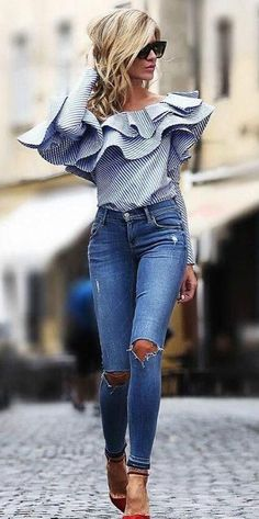 One shoulder flounce trim striped blouse pretty outfits, fall outfits, casual outfits, cute Mode Outfits, Fall Outfits, Summer Outfits, Casual Outfits, Fashion Outfits, Womens Fashion, Fashion Trends, Jean Outfits, Striped Outfits