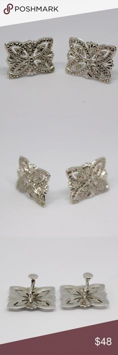 """🆕Marcasite Sterling Silver Earrings 🔹Vintage marcasite & 925 sterling silver screw back earrings.🔹1"""" wide.🔹No trades/off-Posh transactions.🔹Reasonable offers welcome! Vintage Jewelry Earrings"""
