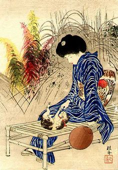 Takeuchi Keishu - Bijin and Kitten, 1912