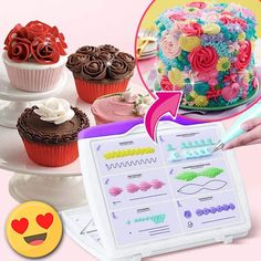 No more pipe dreams, this is the real deal for beginning decorators. This Cake Decorating Practice Set will these practice boards give you the confidence and skills to create incredible professional-looking cake designs. Cake Decorating Frosting, Cake Decorating Videos, Cake Decorating Techniques, Cookie Decorating, Cake Piping Techniques, Decorating Tools, Cake Icing, Eat Cake, Cupcake Cakes