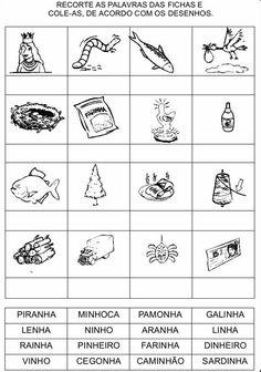 Atividades com LH, CH e NH para alfabetização - Atividades Pedagogicas